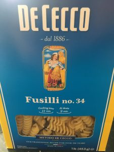Box of De Cecco Fusilli Pasta.