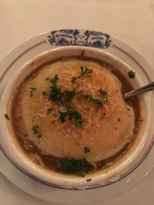 Photo of French Onion Soup at Antoine's Restaurant.