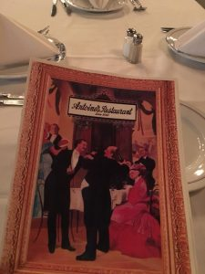 Photo of Menu at Antoine's Restaurant in New Orleans.