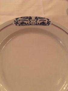 Photo of custom plate at Antoine's Restaurant New Orleans.