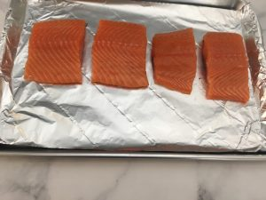 Photo of fresh, uncooked salmon.