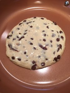 Photo of Chocolate Chip pancakes in the making.