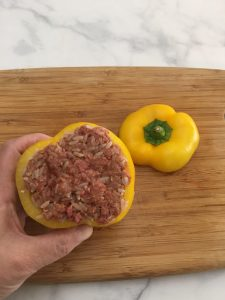 Photo of Pepper stuffed with meat mixture.