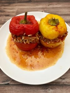 Photo of serving of stuffed peppers.
