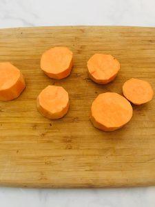 Photo of peeled and sliced yams.