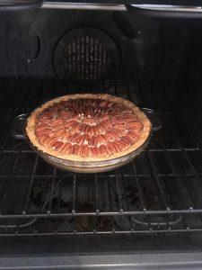 Photo of Pecan Pie in the oven.