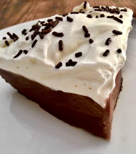 Photo of a slice of Chocolate Cream Pie.