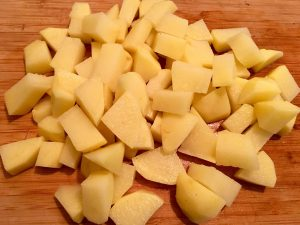 Photo of diced Yukon Gold potatoes.