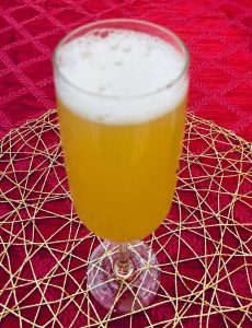 Photo of making of a Pineapple Mimosa.