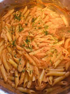 Photo of making Penne Alla Vodka Tomato Cream Sauce.