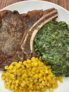 Rib Eye Steak Dinner.