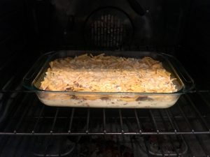 Photo of uncooked sausage and egg breakfast casserole.