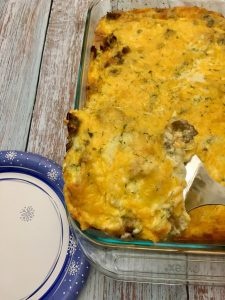 Photo of the sausage and egg breakfast casserole.