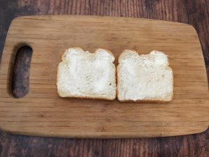 Buttered bread.