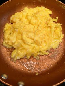 Perfectly scrambled eggs.