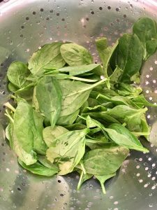 Fresh, washed spinach.