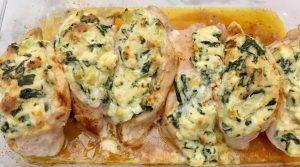 Spinach Artichoke Stuffed Chicken.