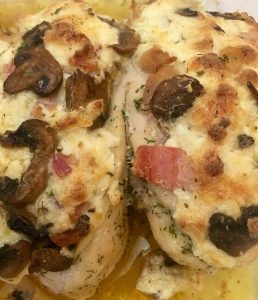 Chicken Stuffed with Mushrooms, Bacon, and Gruyere.