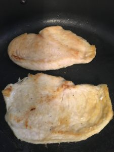 Pan cooked chicken.