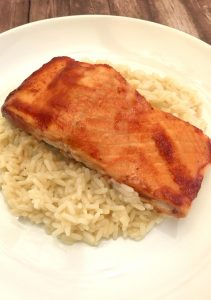 BBQ Salmon with Fluffy White Rice.