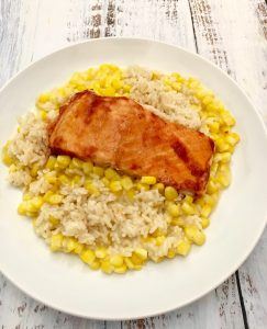 BBQ Salmon with Rice and Corn.