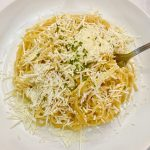 Spaghetti with Browned Butter and Mizithra Cheese.