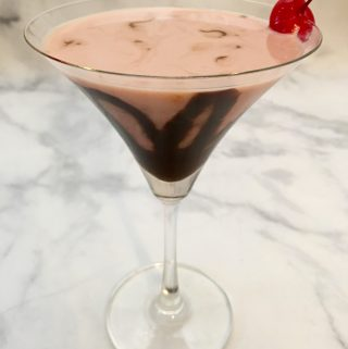 Chocolate Drizzled Cherry Martini.